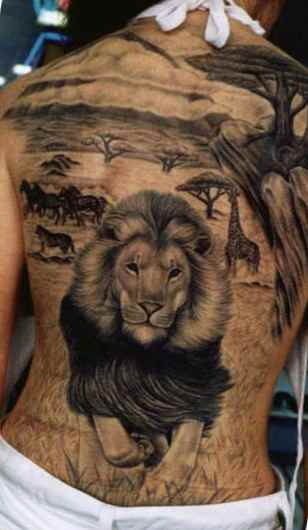 Full body lion tattoo