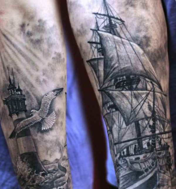 Ship and lighthouse tattoo