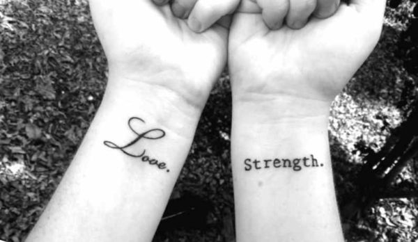 Black strength wrist tattoo