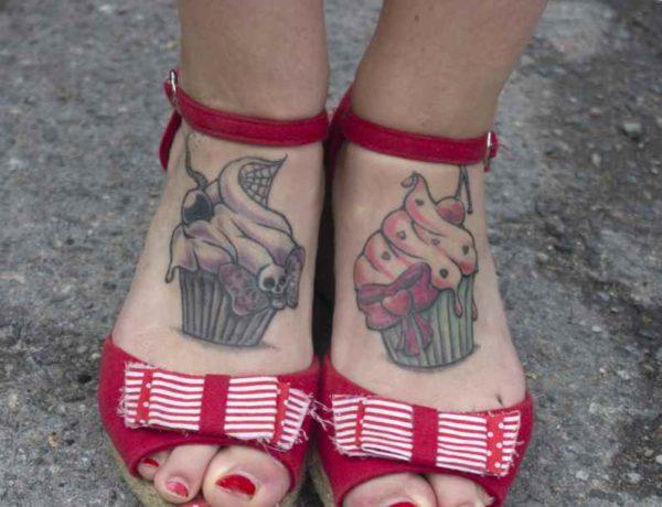 Cupcake foot tattoo