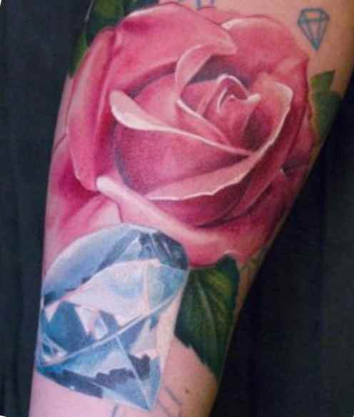 Diamond & rose tattoo