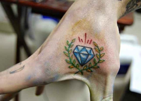 Tattoo diamond on the hand