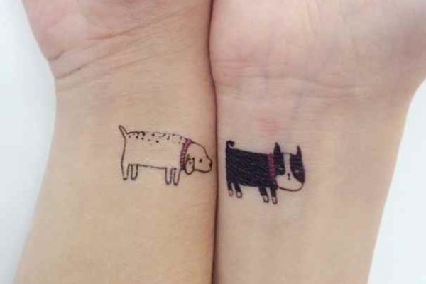 Black lovely dog tattoo
