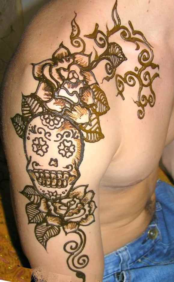 Skull Tattoos Men's Henna