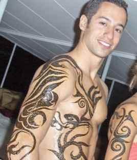Tattoo henna on the guy