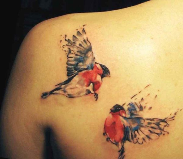 Hummingbird tattoos on shoulder