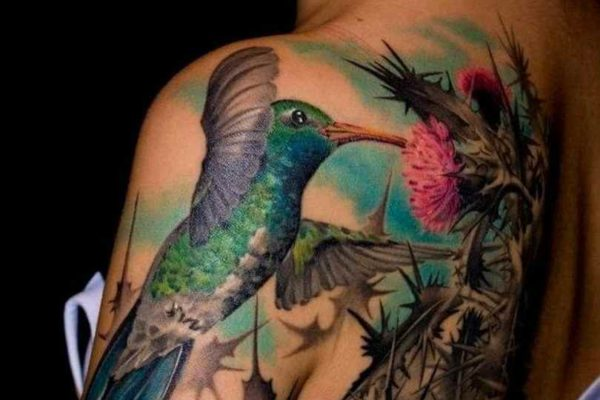 Side hummingbird tattoos on shoulder