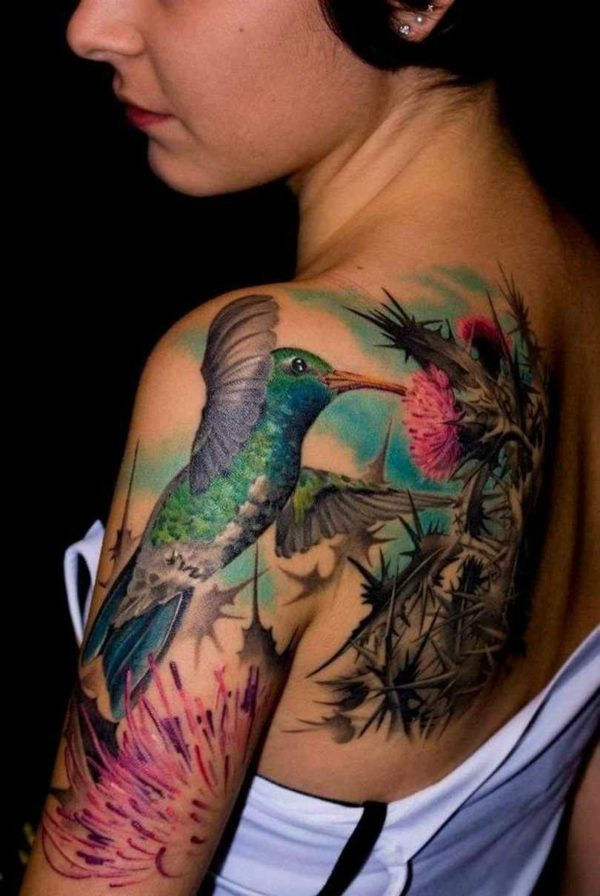 Side hummingbird tattoos on shoulder