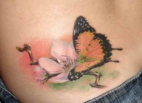 Butterfly tattoos on the lower back