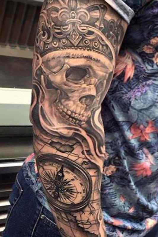 Badass skull sleeve tattoo