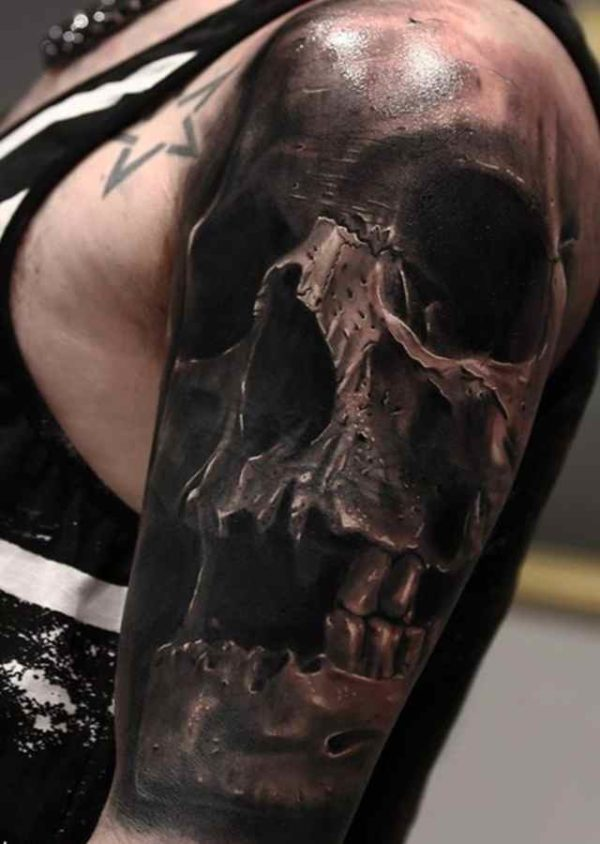 Black grey skull sleeve tattoo