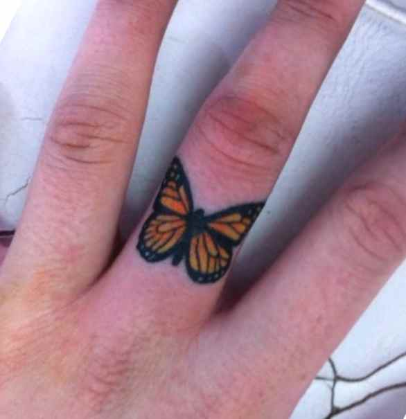Butterfly ring tattoo design