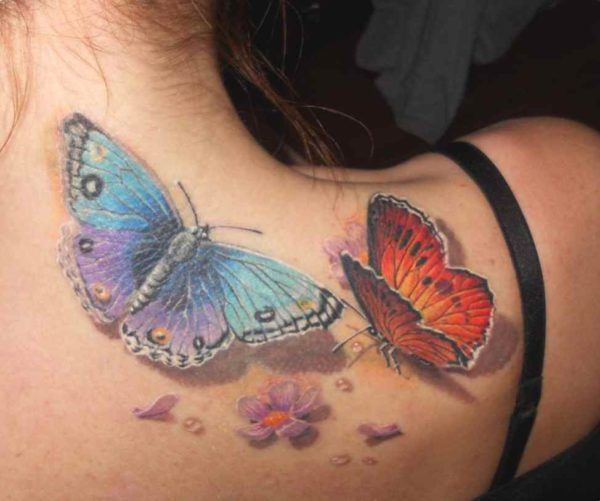 Butterfly tattoo design for upper back