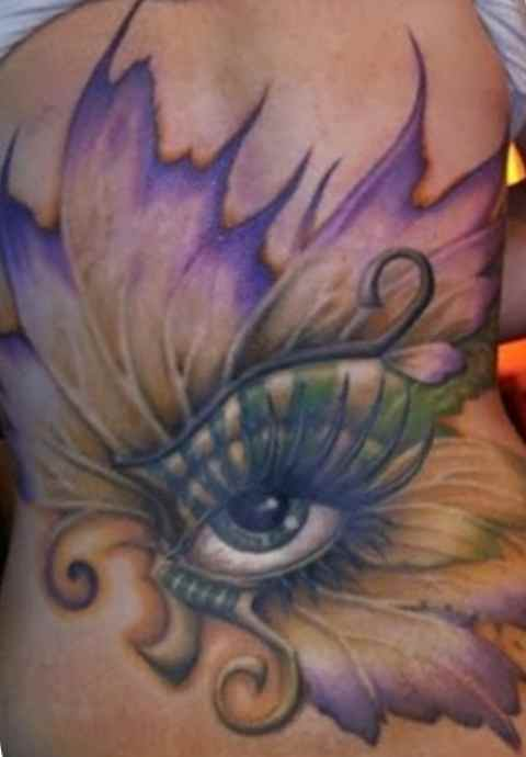 Butterfly and eye tattoos