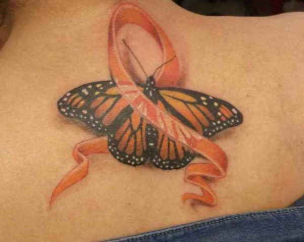 Cancer ribbon tattoo for leukemia