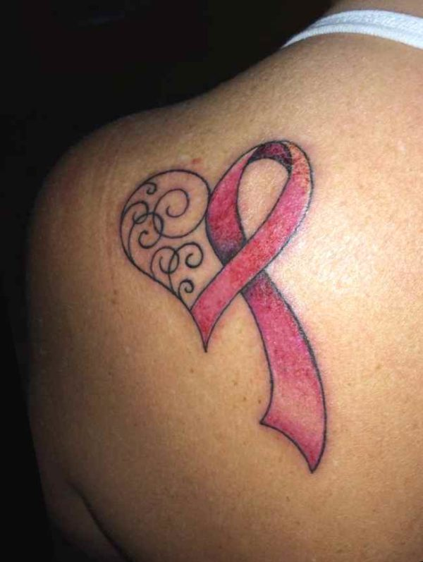 Cancer ribbon tattoo image