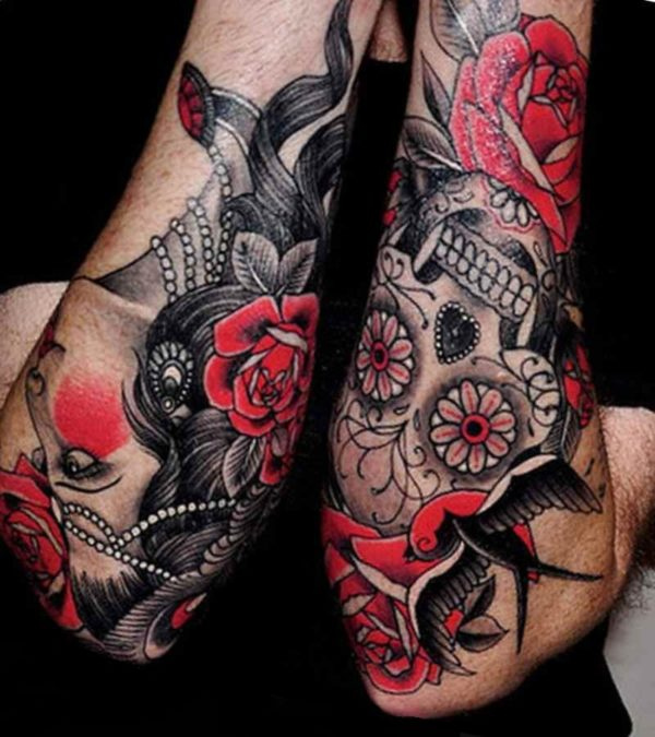 Candy skull sleeve tattoo