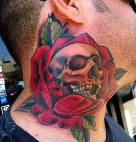 Tattoos neck - Skull and flowers