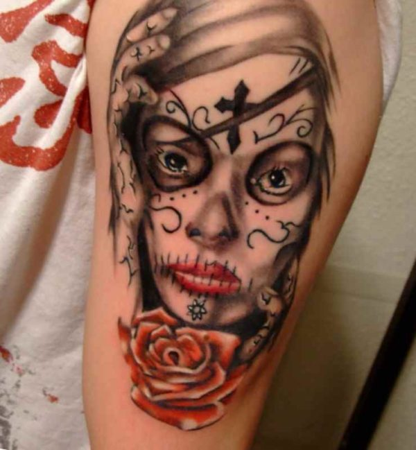 Female skull sleeve tattoos