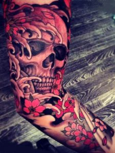 Girly skull sleeve tattoos