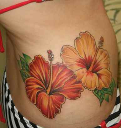 Hawaiian flower tattoo picture-design