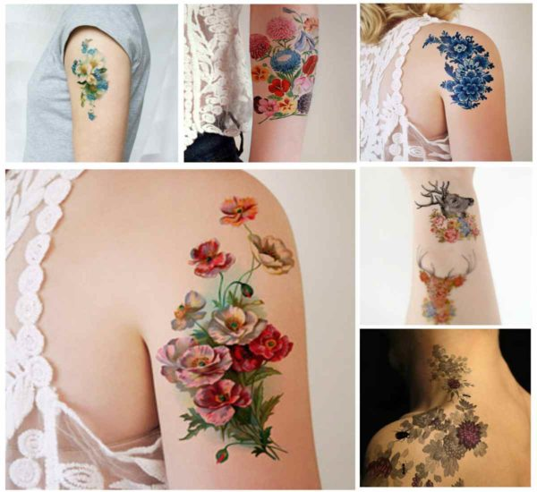 Retro flower tattoo designs