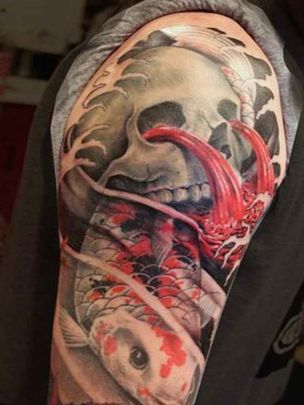 Skull and demon sleeve tattoos