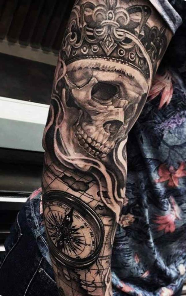 Skull full sleeve tattoo