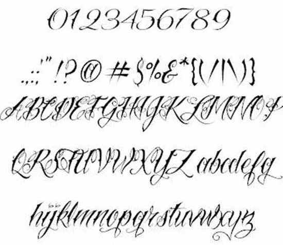 Tattoo font english calligraphy