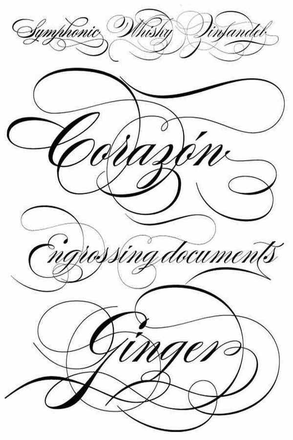 Victorian script font for tattoo