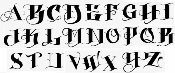 Tattoo lettering black font