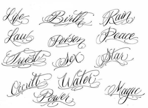 Tattoo lettering cursive fonts