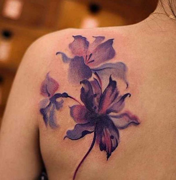 Violet flower tattoo designs