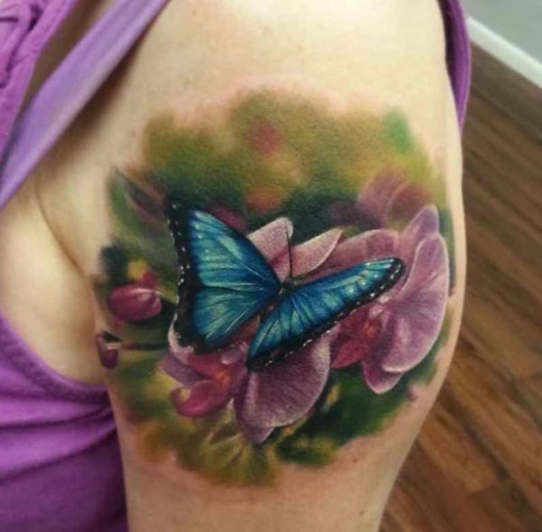 Flower tattoo and butterflies