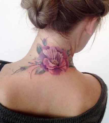 Flower tattoo on the neck