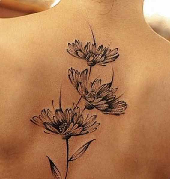 Flower tattoo black and grey