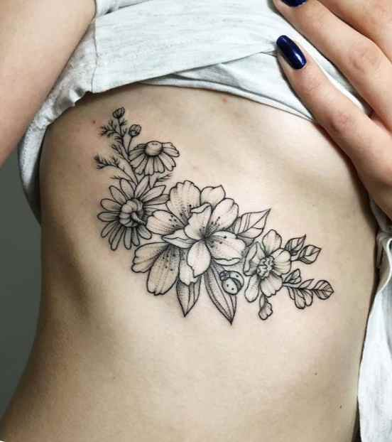 Flower tattoo black and white