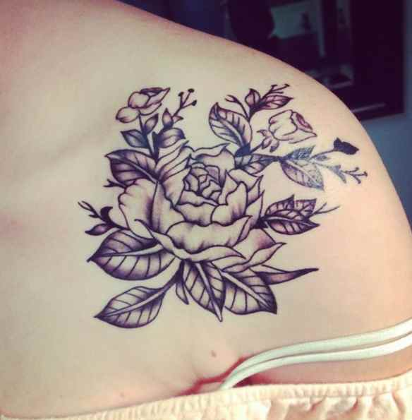 Flower tattoo black ink