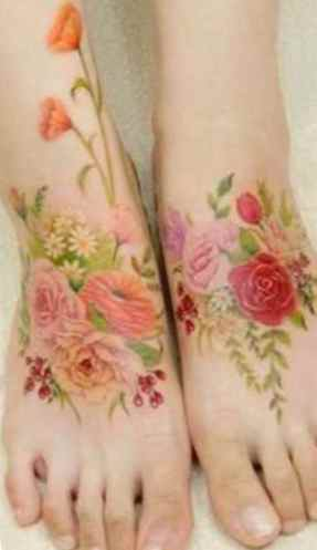 Flower tattoo on both arms