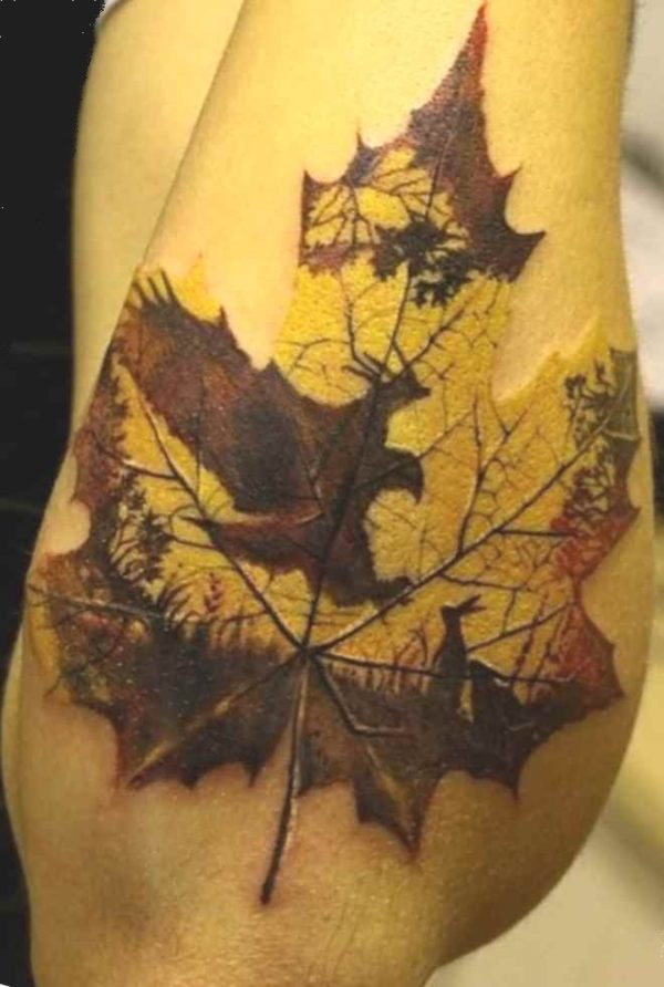 Sick tattoo idea autumn leaf