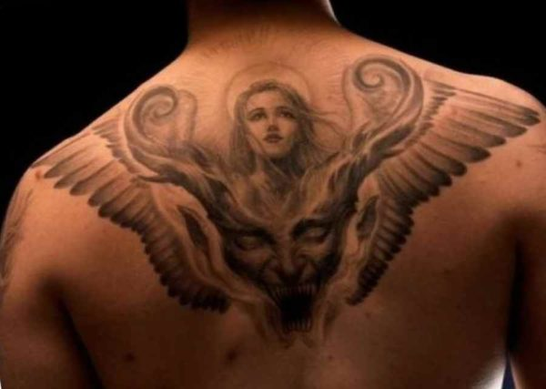 The idea for the tattoo man devil and angel