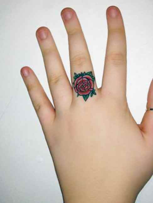 Flower ring tattoo