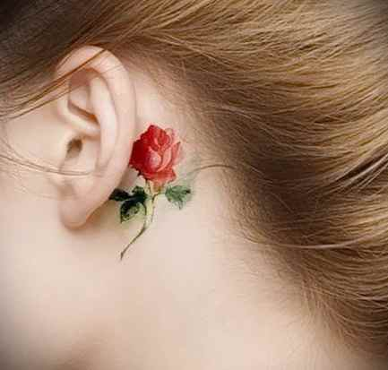Flower tattoo designs behind the ear