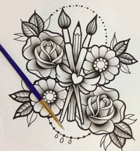 Flower tattoo designs in pencil