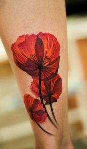 Flower tattoo on leg