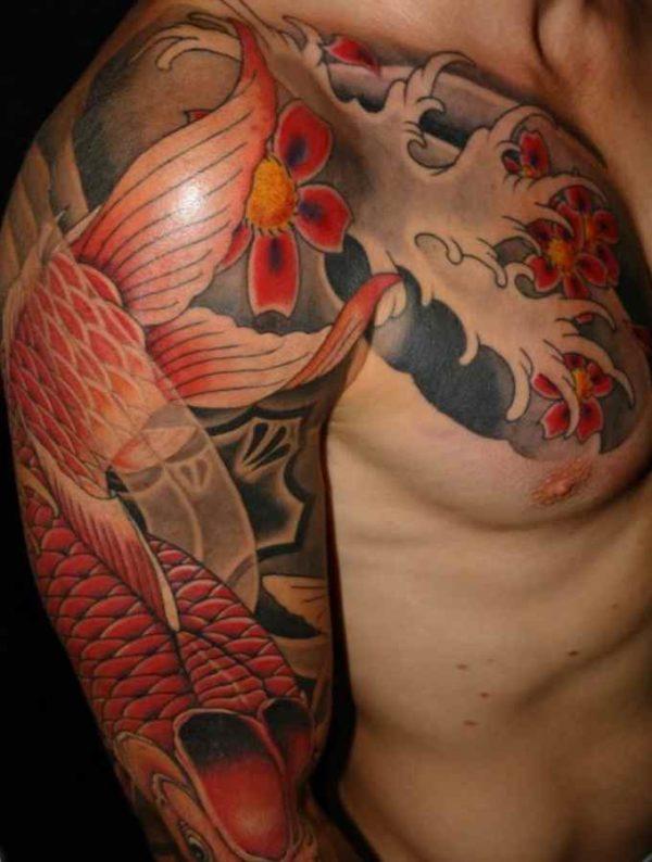 Koi fish tattoo half sleeve