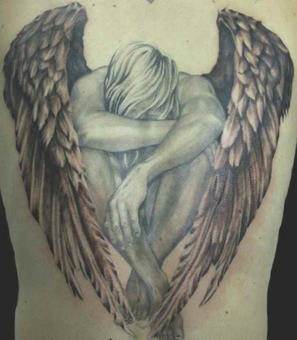 Angel hawk tattoo