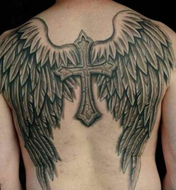Angel wings cross tattoo