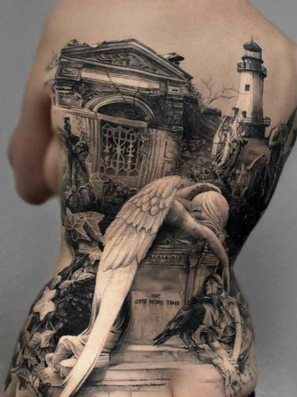 Tattoo of angel of grief