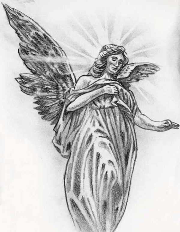 Tattoo of angel stencil